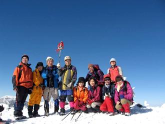 天野春男会長と仲間達 2008.12 北八ヶ岳 横岳